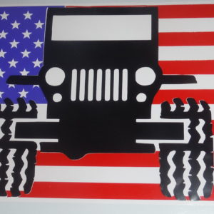Jeep on flag